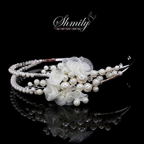 shmily pura mano boda perlas brillantes Diadem Diadema de pelo cabello novia joyas plata nuevo dh2005
