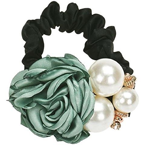 Tongshi Cuerda de perlas de los granos Rose Band pelo de la flor de Scrunchie del Ponytail (Verde)
