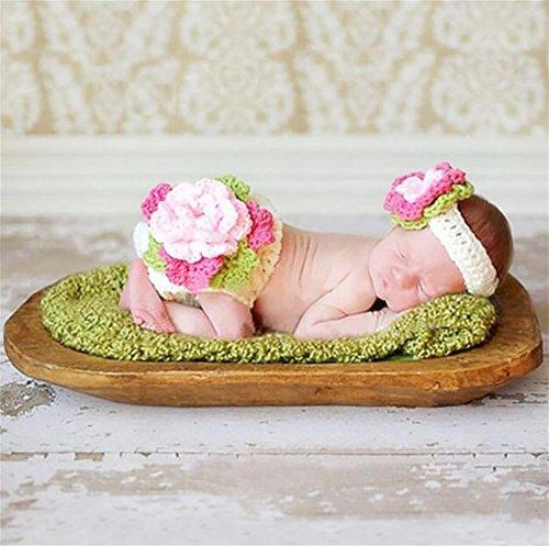 PEPEL Baby Fotografie Prop Säugling schöne Kostüm Flower Stirnband Set(White) (White Angel Baby Kostüme)
