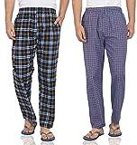 #8: FflirtyGo Mens Pyjama Cotton Combo, 100% Cotton Export Quality Fabric, (Pack of 2) Sleep Pants, Pyjama for Men, Men's Leisure Wear, Night Wear Pajama – Red and Blue Combo Pack