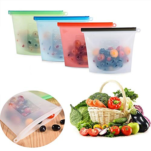 Creatif Ventures Reusable Silicone Vegetable Storage Bags for Refrigerator-Pack of 5