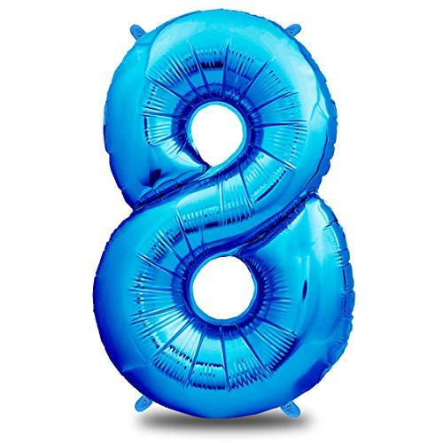 """Luftballon Geburtstag XXL Blau - Riesen Folienballon in 40\""""   101cm Geburtstagsdeko   Ballon Zahl Deko zum Geburtstag   fliegt mit Helium (Zahl 8)"""