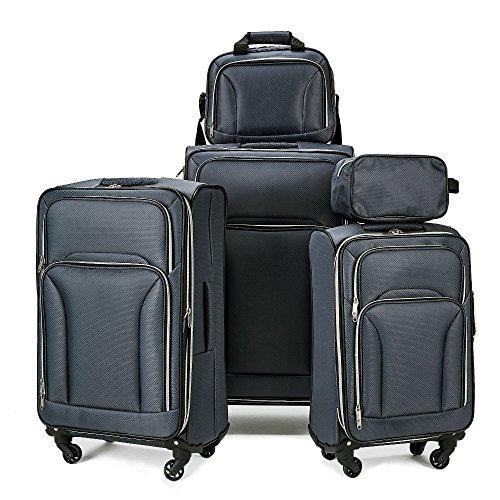 Fochier espandibile set di 5 pezzi softshell valigia trolley da viaggio leggera,grigio