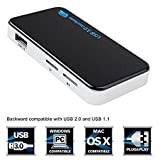 SIGARAM USB 3.0 SuperSpeed All-in-1 Multi Memory Card Reader for Compact Flash/Micro SD/SD/CF/XD/M2/MS Cards with USB 3.0 Cable Black/Silver