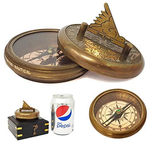 b9861482c2b6 Bolsillo reloj brújula réplica – latón macizo bolsillo reloj de sol