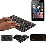 TECHGEAR® [Active Strike (M)] Slim Line Bluetooth Wireless UK Keyboard With Carry Case Cover, works for Nexus 7 2012 / 1st Gen - BLACK