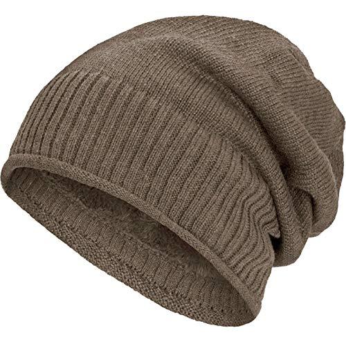 Compagno gefütterte Beanie Wintermütze mit weichem und warmem Teddy-Fleece Futter Mütze, Farbe:Beige