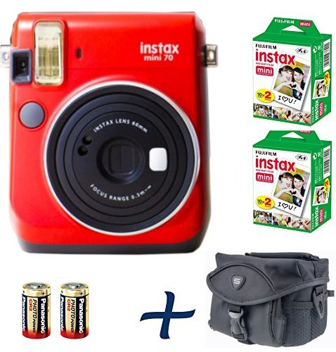 Get Fujifilm Instax Mini 70 Instant Camera Bundle Red + 100-shot Film + 2 Spare CR2 Battery + Case Bundle : all you need to start Instant photography