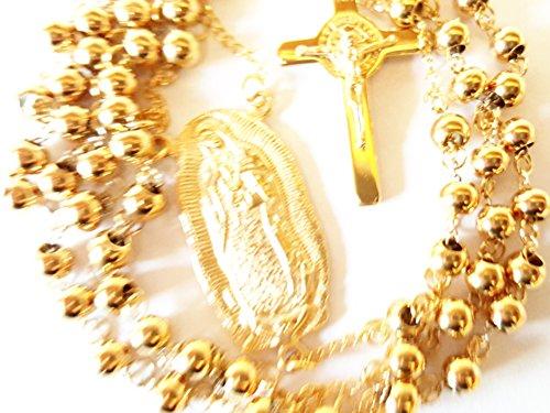 Rosario Scolpito di Nostra Signora di Guadalupe 6 mm collana con