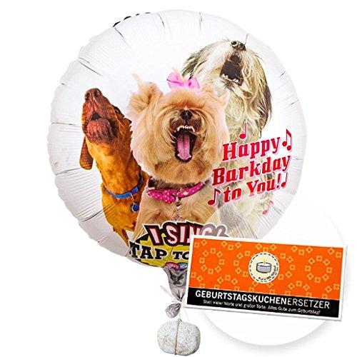 Singender Ballon - Tierische Geburtstagsgrüße Hunde und Schokolade Geburtstagskuchenersetzer