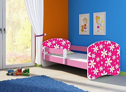 Clamaro \'Fantasia Pink\' 160 x 80 Kinderbett Set inkl. Matratze und Lattenrost, mit verstellbarem Rausfallschutz und Kantenschutzleisten, Design: 23 Pink Daisy
