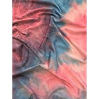 Silk Touch 4 Way Stretch Fabric | Printed Silk Touch Lycra Fabric Material | Sold by The Metre | Same Day Dispatch | by Tia Knight (Unicorn Pink/Blue Tie Dye, SQ183 PNBL)