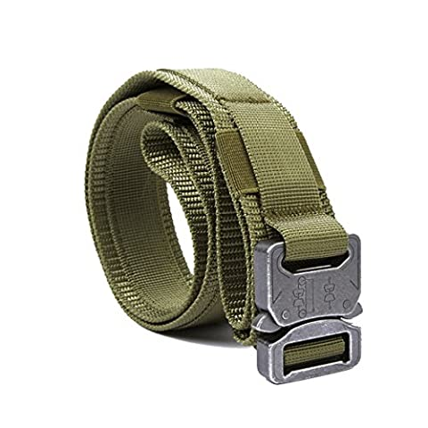 Yisibo Tactical Belt Nylon Outdoor Security Duty Utility Waist Belt with Molle System Military Style Metal Buckle 1.5'' Belts (Coyote Brown, M)