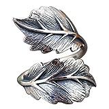 Damen Vintage Echt 925 Sterling Silber Blatt Ring Verstellbar