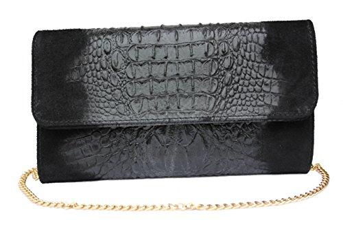Schultertasche Handtasche Abendtasche Clutch schwarz crocoprint/Wildleder -