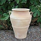 Kreta-Keramik hochwertige Terracotta Amphore 50 cm, großer Vase handgefertigt und frostfest, mediterrane Deko für den Garten Terrasse Außenbereich, Olea