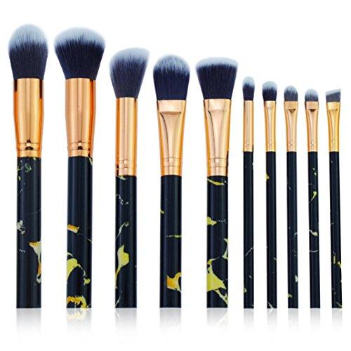 Pinceaux Maquillages Cosmétique Brush 10 Pcs Marbre Brosse Ensemble Professionnel Visage Fondation Poudre Liquide Crème Mélange Brosse Outil (B)
