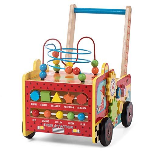 Baby Vivo Trotteur pour Bébé Chariot de Marche Pousseur Activité Marcheur Enfant Jeux Jouet en Bois - Frida