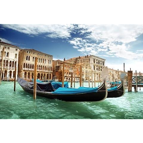Una pasta papel foto-papel pintado góndolas de Venecia KT299 papel pintado Venice Italia Canal WTD Tamaño: 420 x 270 cm papel cuadro XXL-papel pintado
