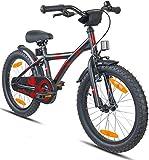 Prometheus Kinderfahrrad 18 Zoll Jungen Mädchen Schwarz Matt Rot ab 6 Jahre mit Alu V-Brake und Rücktritt - 18zoll BMX Modell 2019