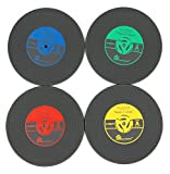 4 Piece Retro Vinyl Records Album Coaster Set CD Drink Mug Coffee Mat Black Music