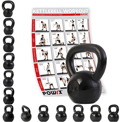 POWRX - Kettlebell ghisa 6 kg + PDF Workout (Nero)