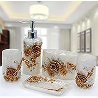 Resina 5 pezzi Set accessori da bagno durevole casa Bagno Hotel club anziano Residence Upscale Set bagno , white - Medio Dei Dipendenti Regalo