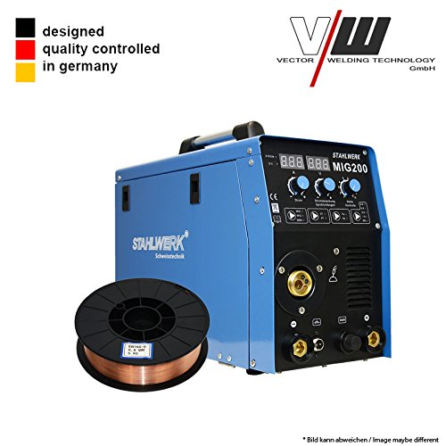 SET: STAHLWERKAC Digital Schweißgerät DC MIG MAG 200 Inverter Lift WIG ARC MMA STICK Elektrode + 5KG