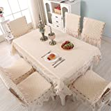 Table cloth Clothes UK- Cuscini per sedie in Tessuto Stile Europeo con Rivestimento in Tessuto Set di tovaglie in Tessuto Spesse con tovaglia in Pizzo Decorazione per la casa tovaglia
