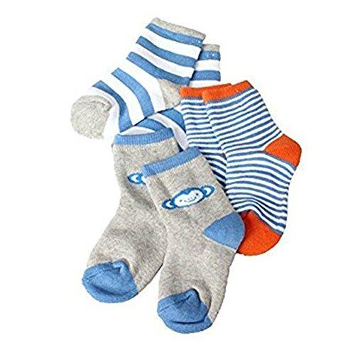 hibote 3 Paar Baby Socken Jungen Mädchen Unisex Stripes Winter Dicke Socken für Kleinkinder und Kleinkinder Blauer Affe 1-3 Jahre (Socke Affe-baby Blau)