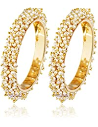YouBella Jewellery Gold Plated Pearl Studded Bracelet Bangles Set For Women and Girls