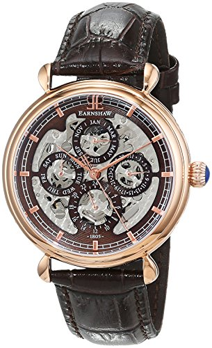 Thomas Earnshaw Men's Grand Calendar Twilight Automatic Watch with Brown Dial Analogue Display and Brown Leather Strap ES-8043-05