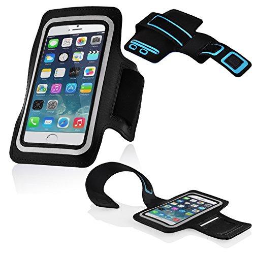 Cadorabo – Neopren Smartphone Sport Armband Fitnessstudio Jogging Armband Oberarmtasche kompatibel mit 4.5 – 5.0 Zoll Handys wie z. B. Apple iPhone 6, 7, Samsung Galaxy A3, > HTC ONE A9 < usw. mit Schlüsselfach und Kopfhöreranschluss in SCHWARZ