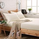 Bettlaken Bettwäsche 100% Baumwolle reine Farbe Komplett eingewickelte Simmons Matratze Bettdecken Slip Anti-Falten-pflegeleicht, atmungsaktiv und ökologisch unbedenklich, mit rundum Gummiband , yellow , 200*220cm