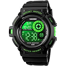 ETOWS® Men Watch Fashion Digital Wristwatches Big Dial LED Watches 50M Waterproof Sports Watches Green