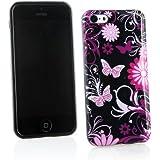 Kit Me Out TPU-Gel-Hülle für Apple iPhone 5C - Schwarz Rosa Blumen und Schmetterlinge