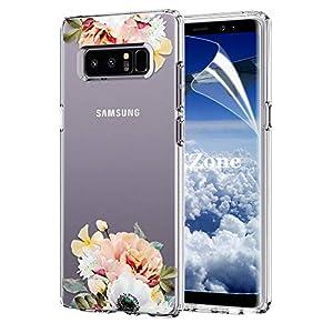 OKZone Galaxy Note 8 Hülle [mit HD-Schutzfolie], [Blumen Muster]
