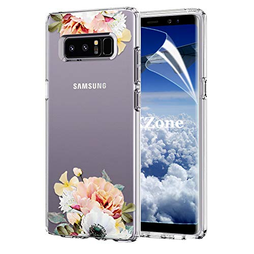 OKZone Galaxy Note 8 Case [with HD Screen Protector], [Flowers Pattern Design] Luxury Colorful Floral Pattern Printed Shockproof Flexible TPU Protective Case For Samsung Galaxy Note 8 (Yellow)