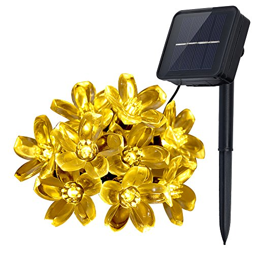 Innoo Tech Outdoor Solar Lichterkette 21 FT 50 LED Blossom Flower Fairy Licht für Garten Terrasse Hochzeit Party Schlafzimmer Weihnachten Dekoration Warm (Halloween Ideen Kranz)