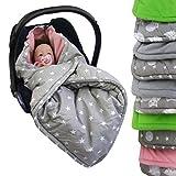 BAMBINIWELT Einschlagdecke, Decke für Babyschale, 3 und 5 Punkt-Gurt-System (grau-rosa Sterne)