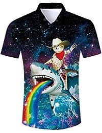 2662a81fb3f ALISISTER Mens Hawaiian Shirt 3D Print Casual Button Down Beach Holiday  Aloha Short Sleeve Shirt