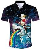 ALISISTER Chemise Hawaïenne pour Hommes Chemisier Boutonné T-Shirt à Manches Courtes Adulte 3D Animal Drôle Imprimé Luau Chemises été Aloha Party Shirt XL