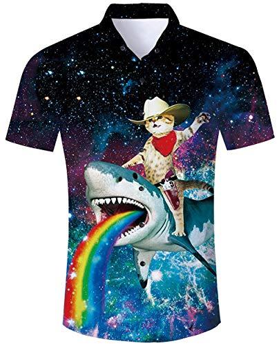 ALISISTER Hawaiihemd Herren Button Down Hemd Kurzarm 3D Galaxis Hai Katze Druckt Aloha Bluse Tshirt Sommer Urlaub Party Strandkleidung Hemden L