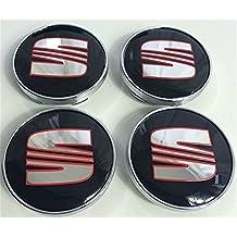 4 x Seat Rojo Cromo Negro Logo 60 mm Buje tapas Buje Tapa Tapacubos Llanta Tapa