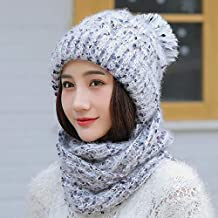 ... gorros invierno mujer. HAOLIEQUAN Esquí Niña Color Mezcla Sombreros De  Punto Bufanda Conjunto De Sombrero Sombrero De Invierno De 3906b765fdf