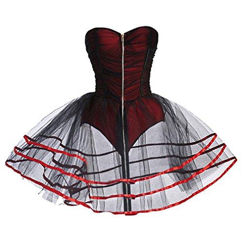 Charmian Women's A-Line Fashion Burlesque Zipper Romper Mesh Tutu Petticoat Dress Valentines Lingerie Red Small steampunk buy now online