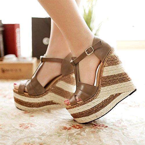 LvYuan Sandali estivi donna / Ufficio & Carriera / Heels Ultra Ultra Heel / piattaforma impermeabile / Heels / Fibbie / Roman Scarpe cunei di lino Brown