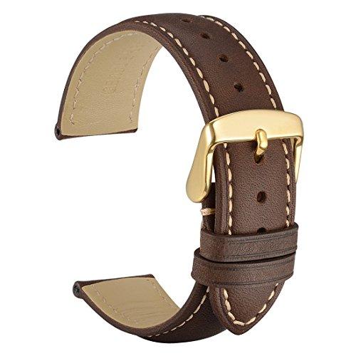 WOCCI Uhrenarmbänder 20mm Vintage Echtlederarmband mit Gold Pins Schnalle-Armbanduhr Bands von dunkelbraun