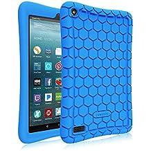 Fintie Silicone Funda para Fire 7 2017 - [Honey Comb Series] Ligero Case Funda Protectora de Silicón Carcasa para Amazon Nuevo Fire 7 (tablet de 7 pulgadas, 7ª generación, modelo de 2017), Azul