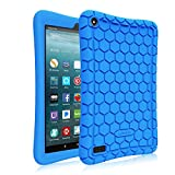 Fintie Silicone Custodia per All-New Fire 7 2017- Fintie [Serie Honey Comb] Ultra Leggera Case Protettiva Cover Antiurto in Silicone per Amazon Nuovo Fire 7 (7a Gen, 2017), Blu